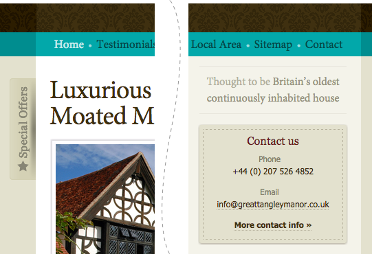 Examples of new, in-keeping design work: 'Special offers' custom CMS feature, Contact panel and House age panel.