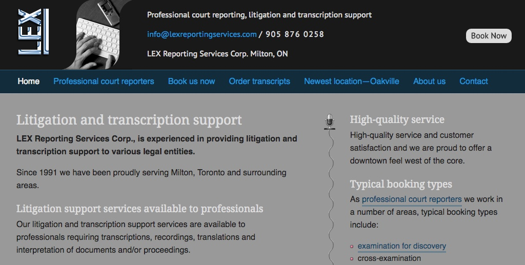 LEX Reporting Services Corp. website homepage