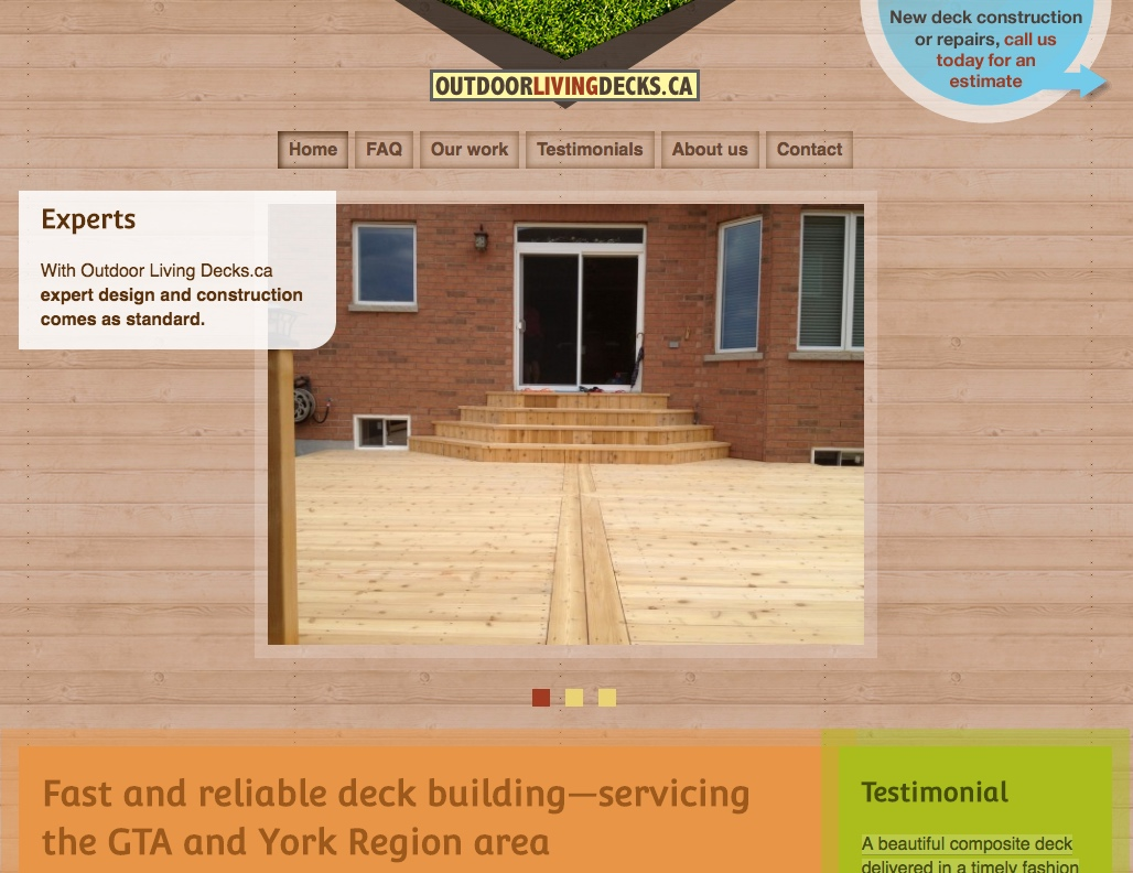 Outdoor Living Decks home page