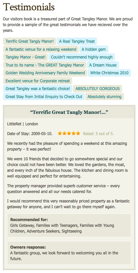 Image of testimonials page at GTM
