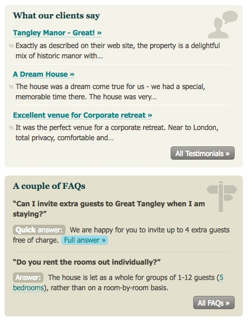 Image of sample FAQs and testimonials
