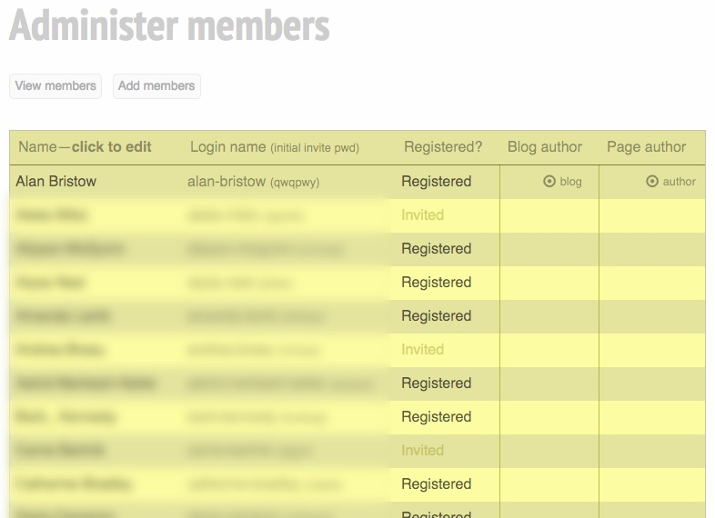 Image of members list page